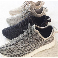 """""""Adidas"""" Women Yeezy Boost Sneakers Running Sports Shoes Grey black"""