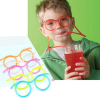 Colorful Soft Glasses Unique Flexible straw Drinking Tube Kids Party Gifts ULS