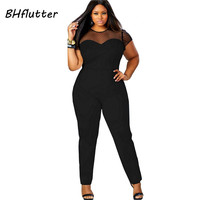 4XL Plus Size Clothing Women Short Sleeve Casual Jumpsuits Lace Patchwork Women's Sexy Vintage Overalls Playsuits For big women
