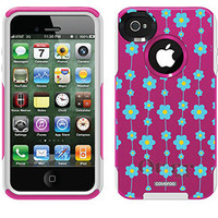 """""""Flower Strings Teal"""" Flowers design on OtterBox® Commuter Series® Case for iPhone 4 / 4S in Pink"""