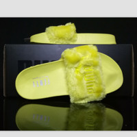 """PUMA"" Rihanna Fenty Leadcat Fur Slipper Shoes Yellow"
