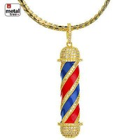 Jewelry Kay style 14K Gold Plated Diamond Barber Shop Pendant Miami Cuban Chain Set BCH 15108 G