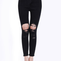 Black Skinny Ripped Denim Pants