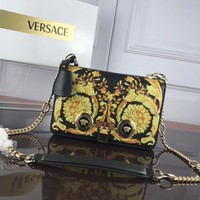 HCCXX 006 Versace Leather printed Greek key single room ladies bag 24-7-16cm Black Yellow