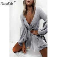 Nadafair long puff sleeve knitted autumn winter dresses women deep v neck casual elastic waist lace up sweater sexy mini dress