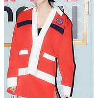 Miu Miu Autumn And Winter New Fashion Embroidery Letter Long Sleeve Coat Cardigan Red