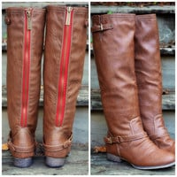 SZ 5.5 Montana Maple Tan Red Zipper Riding Boots