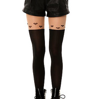 Intimates Boutique Tights Heart Garter in Black
