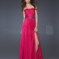 Red A-line Scoop Neckline Chiffon Floor Length Prom Dress  from SinoSpecial
