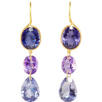 22K  Yellow Gold, Iolite, and Amethyst \