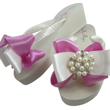 Bubblegum Pink Wedding Flip Flops with Pearl Satin Bows in Ivory Wedges or White Heel