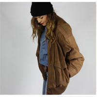 brown leather BOMBER jacket slouchy oversized os UNISEX large solid color