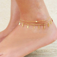 Cupshe Leave Tassel Double-Layered Anklet