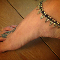 Geometric anklet / Gypsy beaded Anklet / Triangle anklet / Tribal Anklet / Shanti anklet / for her / hippie jewelry / Spike arrow anklet