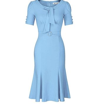 1950's Style Short Sleeve Mermaid Dress, Sizes Small - 2XLarge (Sky Blue)