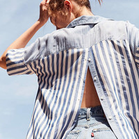 BDG Mixed Striped Popover Collared Top   Urban Outfitters