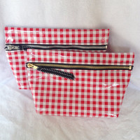 Cosmetics Case - Zipper Travel Pouch - red & white check - gold zipper
