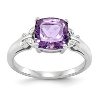Sterling Silver Square Cushion Amethyst & Diamond Butterfly Accent Ring