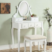 Vanity Table with Mirror and Bench White