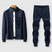 Fendi Fashion Casual Cardigan Jacket Coat Pants Trousers Set Two-Piece