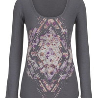 Floral And Rhinestone Graphic Print Top - Multi