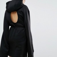 House Of Sunny Longline Hoodie Dress With Cut Out Back Detail at asos.com