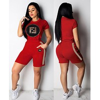 FENDI Summer Fashion Women Casual Sequins Print Short Sleeve Top Shorts Two-Piece Set Sportswear Red