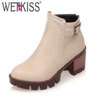 Plus Size 33-43 Popular Buckle Strap Women Boots Easy Med Square Heels Autumn Winter Boots Women's Shoes Platform Ankle Boots