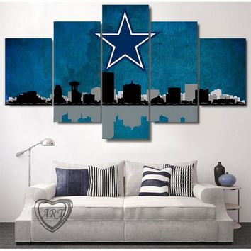 Dallas Cowboys City Skyline Canvas Prints Painting Wall Art 5 Pieces Poster Home Decor Panels framed