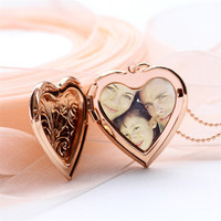 New Girls Photo Locket Pendant Necklace Gold Heart Photo Locket Necklace Picture Memory Locket Necklaces Gift Memory Jewelry