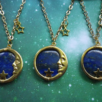 Silver or Gold Lapis lazuli Earthshine Moon necklace by lotusfairy