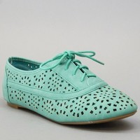 Nature Breeze Cambridge-04 Cut Out Oxford Women Shoes SEA GREEN