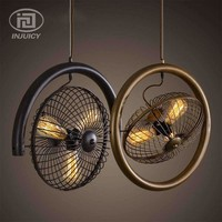 Loft Vintage Industrial Style Chandelier Fan Iron Edison Ceiling Lamp For Bar Cafe Bedroom Dining Room Restaurant Store