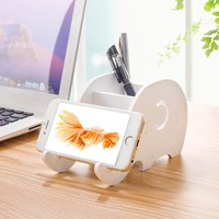 WolfRule Phone Holder For iPhone X 8 7 6 6s Plus Elephant DIY Office Stand Desk Storage Organizer Box Pen Container Pencil Case