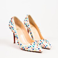 PEAPU2C Christian Louboutin Multicolor Spiked Pigalle Pumps