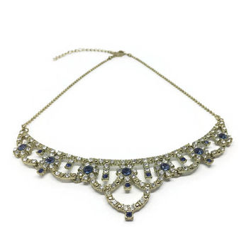 Vintage Diamante Necklace | Faux Sapphire Blue And White Rhinestones | Rhinestone Necklace | 80s / 90s | Sparkly Necklace