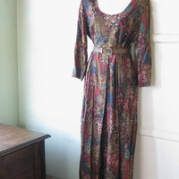 Rust/Beige/Teal Abstract Nature Print Palazzo Maxi; '80s Vintage 'Chorus Line' Rayon Scoopneck Longsleeve Maxi; U.S. Shipping Included
