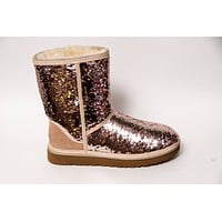 Reversible Rose Gold & Champagne Sequin Ugg Classic Short II Boots