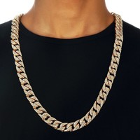 Miami Curb Cuban Chain Necklace For Men Gold Silver Hip Hop Iced Out Paved Rhinestones CZ Rapper Necklace Jewelry