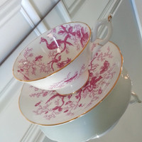 Vintage Coalport Cairo pattern tea cup and saucer, pink and white tea set, birds and insects, wedding gift