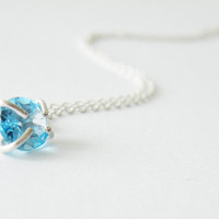 Faceted Aquamarine Pendant Necklace Gemstone Jewelry March Birthstone Sterling Silver Necklace by SteamyLab