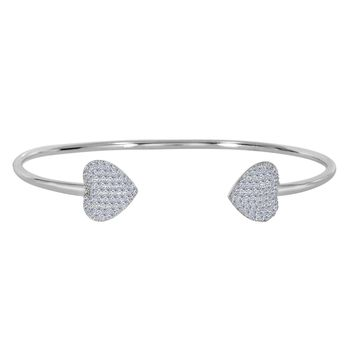 Sterling Silver Double CZ Heart Ends Bracelet Cuff