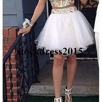 Sexy Two Piece Short Mini Homecoming Dresses Cocktail Party Graduation Prom Gown