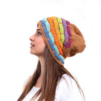 Slouchy Beanie Hat, Rainbow Slouch Hat, Tribal rasta hat by Solandia, Oversized Knitted Wool Winter Hat, blue, orange, purple on beige