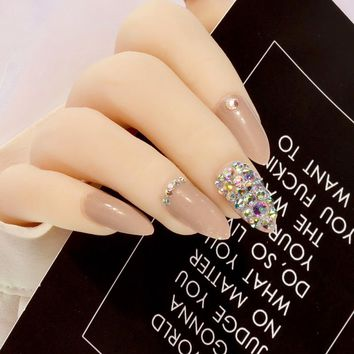 Cool coffee Press On Nails Bling AB crystal Nail Art fake nails natural False nails stiletto with Stickers 24pcs Pure color