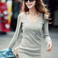 Long Sleeve V-Neck Knitted Casual Bodycon Mini Dress