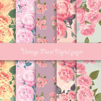 Vintage Floral digital paper - Pack for scrapbooking, print - 10 images, 300 Dpi. Jpg files. Instant Download.
