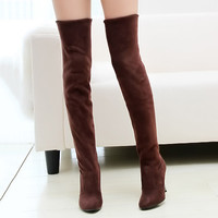 Hot Selling Velvet Over the Knee Boots Pointed Toe