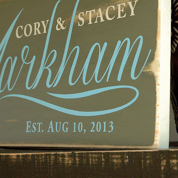 Hand Painted Family Established Sign, First Name Last Name Sign, Est. Sign, Rustic Wood Sign Finish