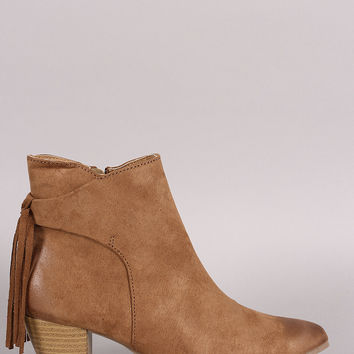 Qupid Suede Fringe Pointy Toe Chunky Heeled Booties